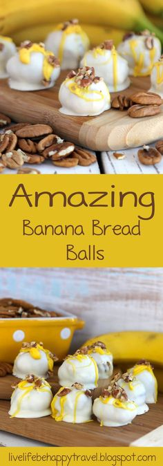 Banana Bread Balls - Quick and easy to make -Filled with real bananas and pecans. These are amazing! Banana Bread Balls - Quick and easy to make -Filled with real bananas and pecans. These are amazing! Cake Ball Recipes, Candy Recipes, Dessert Recipes, Dessert Ideas, Holiday Recipes, Snack Recipes, Cake Pops, Easy Desserts, Delicious Desserts