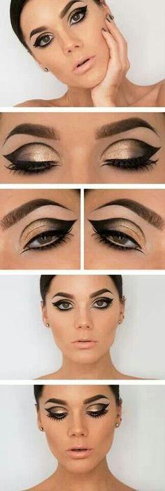 """Nueva tendencia """"cut creace"""" sombra negra en combinación con dorada #maquillaje #ojos #eyes"""