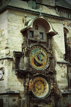 Prague - Astronomical Clock.  I ate ice cream on a roof top across from the clock and listened to a man play steel drums.