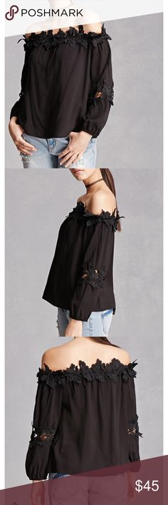 NWT Crochet Off The Shoulder Black Top NWT black crochet off the shoulder top, size medium. Forever 21 Tops Tees - Long Sleeve