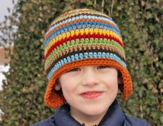 Crocheted Scrappy Hat pattern made with all that leftover yarn =)