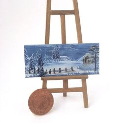 Cabin in the Mountain  Dolls House Original Art Winter Landscape Painting miniature art by miniature artist hazel rayfield
