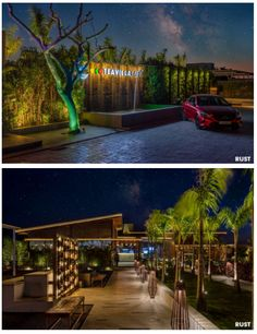 Outdoor Cafe, Outdoor Spaces, Outdoor Decor, Backlit Signage, Compound Wall, Small Entry, Indirect Lighting, Elements Of Nature, Water Walls