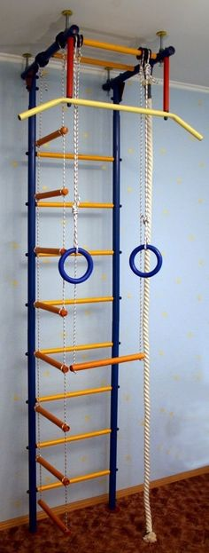 Shipboy 1.1u - Childrens Indoor Home Gym Swedish Wall Playground Set Horizontal Bar Wide Grip Metal Wall with Accessories. Swedish wall (wall bars), wiki: https://en.wikipedia.org/wiki/Wall_bars Home gyms Technical data Basic equipment of Shipboy 1.1U: - yellow beams, - horizontal bar with a wide grip, - metal wall bars, - rope, gymnastic rings, trapeze. The width of the rungs of the ladder - 450 mm. Set in the thrust between floor and ceiling (2.35 - 3.0 m). Area 570 x 650 mm (excluding...