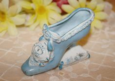 Vintage Blue and White Victorian Style Porcelain Heel ~ by ArtsyVintageBoutique