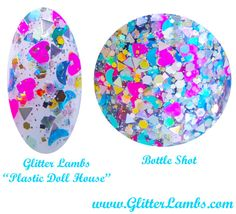 Plastic Doll House: Glitter Topper Nail Polish Custom Handmade Lacquer Neon Pink Hearts Blue Holographic Moons by Glitter Lambs