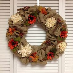 "Large Traditional Fall Burlap Wreath, 22"" Large Fall Burlap Wreath with Fall Flowers and Accessories"