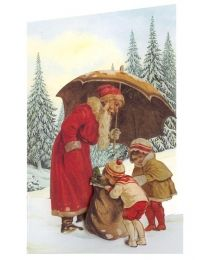 Victorian Santa and Children 3-D Christmas Card ~ England