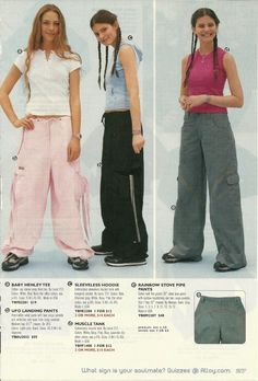 I used to love baggy pants! 1990s Fashion Trends, Early 2000s Fashion, Fashion Catalogue, 90s Teen Fashion, Fashion 2018, Ski Fashion, Cheap Fashion, Fashion Pants, Fashion Outfits