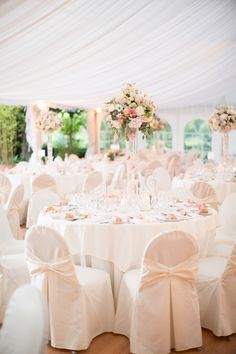 That's exactly what Kat and Sam's destination wedding looked like. Wedding Ceremony Chairs, Wedding Table Settings, Wedding Venues, Wedding Looks, Diy Wedding, Wedding Flowers, Dream Wedding, Blue And Blush Wedding, Pink Themes