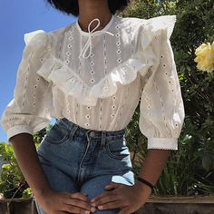 80s cotton and poly blend eyelet blouse by Alexandria.