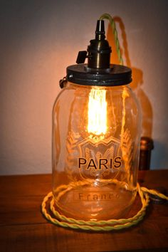 Jar Lamp Industrial Lamp Steampunk Lamp by FireflyApothecaries