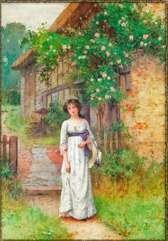 In The Garden ~ William Affleck ~ (English 1869 – 1943 ) Victorian Art, Victorian Women, Friedrich Schiller, Victorian Valentines, Fashion Painting, Empire Style, Color Photography, Beautiful Paintings, Retro