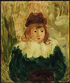 "Berthe-Marie-Pauline Morisot (French, 1841 - ""Portrait of a Child,"" Oil on canvas, 21 x 18 inches x cm). Philadelphia Museum of Art. Julie Manet, Berthe Morisot, Philadelphia Museum Of Art, Philadelphia Pa, Mary Cassatt, Edouard Manet, Post Impressionism, Monet, Van Gogh"