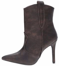 ARIZA11 BROWN POINTED TOE STILETTO HEEL ANKLE BOOT ONLY $16.88