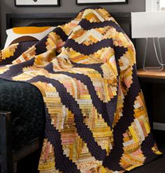 Curved Log Cabin–Yellow & Gray Modern Quilt