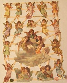 New German Victorian Christmas singing Angel Cherubs harps musical instruments scraps diecut sheet ef 7370 scrap booking card making crafts