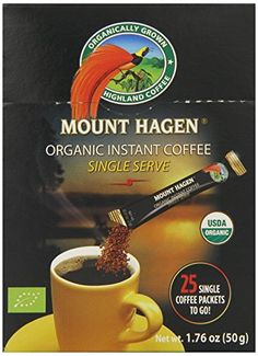 #Mount #Hagen instant organic coffee is organically grown highland coffee made from 100% Arabica beans. It is the first certified organic freeze dried coffee in t...