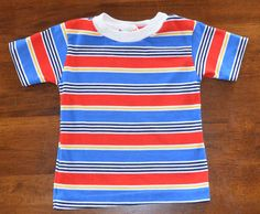 vintage tshirt ringer 70s STRIPES health tex kids by skippyhaha, $12.00