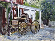 Go to Talart.org for info on weekly plein air trips in Tahoe area.               On a recent trip to Genoa, Nv.     This wagon is my little 12 x 9 study.  Oil paint