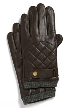 Men/'s Nappa Leather Thinsulate Quilted Winter Checkered touch screen Gloves