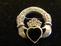 Vintage Claddagh Marcasites Brooch or Pin by TheClassyLady on Etsy, $28.00
