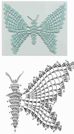 With over 50 free crochet butterfly patterns to make you will never be bored again! Get your hooks out and let's crochet some butterflies!World crochet: Motive - Page 6 Filet Crochet, Beau Crochet, Crochet Motifs, Crochet Diagram, Crochet Chart, Thread Crochet, Love Crochet, Beautiful Crochet, Irish Crochet