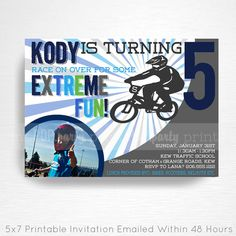 Blue BMX Birthday Party Printable Invitation YOU Print blue grey green This is an emailed file, nothing will be shipped to you. Please include