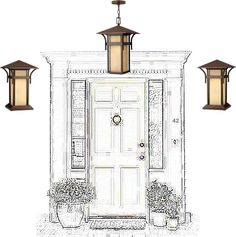 In Praise of the Outside Wall Sconce - Hinkley Lighting 2572 Harbor Outdoor Hanging Lantern and Hinkley Lighting 2579 Harbor Outdoor Wall Lights - Harbor has an updated nautical feel, with a style inspired by the clean, strong lines of a welcoming lighthouse. The cast aluminum and brass construction is accented by bold stripes against the seedy glass.