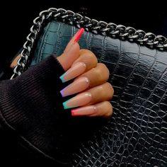 Coffin Nails – Fake Nails – Matte Nails – Press On Nails – Nude Nails – Gel Nails – Artificial Nails – Extra Long False Nails – Nails with G Best Acrylic Nails, Summer Acrylic Nails, Acrylic Nail Art, Acrylic Nail Designs, Long Nail Designs, Coffin Acrylic Nails Long, Coffin Nail Designs, Colourful Acrylic Nails, Coffin Nails Designs Summer