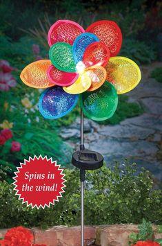 Solar Powered Flower Garden Stake Wind Spinner with Sparkling Light Yard Decor #WindSpinner #SolarPowered #Flower #Garden #Stake #Sparkling #Lights #YardDecor #OutdoorLiving #GardenDecor #HomeDecor #Windmills #Seasonal