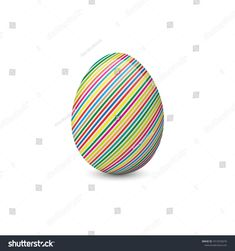 Vector illustration of the painted and decorated easter egg isolated on the white background. Holiday symbol, element or object. Easter Eggs, Illustration, Holiday, Painting, Image, Decor, Decoration, Vacations, Decorating