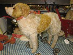 Steiff dog on wheels.