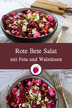 Beetroot Salad with Feta and Walnuts A Food, Good Food, Food And Drink, Salad Recipes, Healthy Recipes, Feta Salat, Eating Plans, Food Videos, Food Inspiration