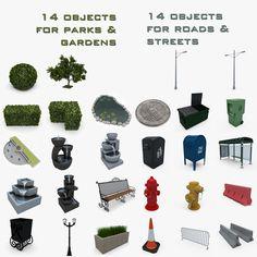 3d garden street road model