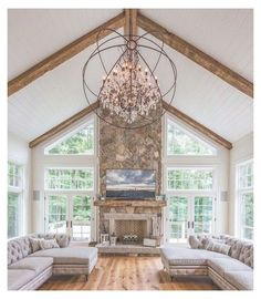 Vaulted Ceiling Bedroom, Vaulted Living Rooms, Vaulted Ceiling Kitchen, Vaulted Ceiling Lighting, High Ceiling Living Room, Chandelier In Living Room, Living Room Windows, Ceiling Beams, Living Room Lighting