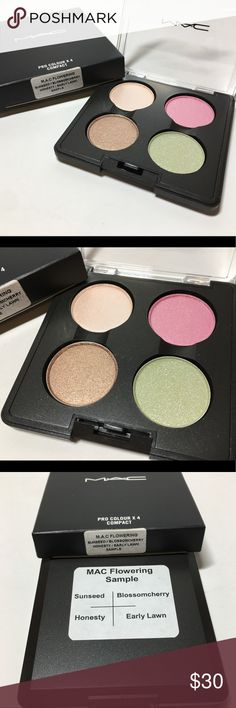 NIB Mac Flowering Quad Sample 100% Authentic NIB Mac Cosmetics  Flowering Quad Includes: Sunseed, Blossomcherry, Honesty & Early Lawn  Marked Sample - purchased from a past employee.  Brand new, never used or tested.  100% Authentic  Please see pictures as this is the actual item you will receive. Please feel free to ask any questions and I will get back to you as soon as possible. Thank you! MAC Cosmetics Makeup Eyeshadow