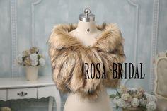 2PCS faux fur bridal wrap shrug stole shawl cape by rosabridal