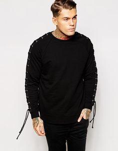 ASOS Oversized Sweatshirt With Lace Up Sleeve