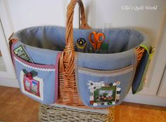 Basket cover quilt by Ulla's Quilt World. Hugs, Ulla