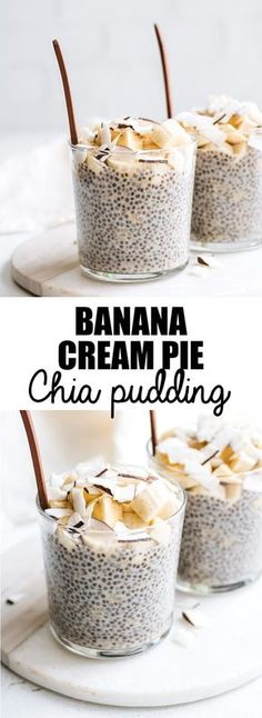 Healthy Snacks This banana cream pie chia pudding is healthy and loaded with banana and coconut flavour! Make this chia pudding for a delicious vegan and gluten-free treat! - A creamy and delicious chia pudding loaded with banana flavour! Gluten Free Treats, Gluten Free Recipes, Vegan Recipes, Cooking Recipes, Vegan Ideas, Lunch Recipes, Cooking Tips, Banana Recipes, Detox Recipes