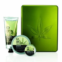 The Body Shop Hemp 04oz Mini Foot Cream 33oz Hand Protector and 169oz Body Butter in Decorative Metal Leaf Tin  Brand New >>> You can get additional details at the image link.
