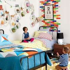 Designing a shared bedroom for your kids can be tricky, but it doesn't need to be. Break the challenge into 4 manageable tips to designing a shared bedroom. Boy And Girl Shared Bedroom, Shared Bedrooms, Girl Room, Girls Bedroom, Boy Bedrooms, Bedroom Wall, Baby Room, Bedroom Ideas, Personalized Wall Art