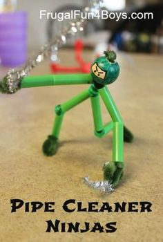 Pipe Cleaner Ninjas - One of our favorite crafts ever!  Pipe cleaners, straws, and beads.  The post shows how to put them together!