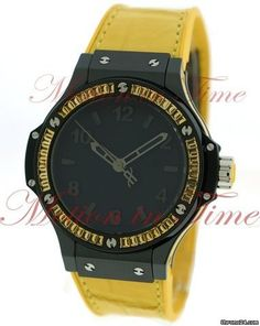 "Hublot Big Bang 38mm Tutti Frutti ""Lemon"", Black Dial, Yellow Sapphire Baguette Bezel - Blac"