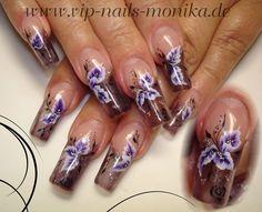 purple flowers-one stroke by vipnailsmonika from Nail Art Gallery
