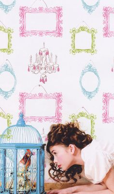 Picture This Pink Teal Kids Wallpaper   . In the dress up area. designyourwall.com
