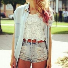 #LaceTops and #HighWaistedShorts make for such an #AdorableOutfit.❀
