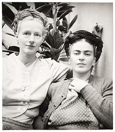 "* Emmy Lou Packard and Frida Kahlo, 1941 photo Diego Rivera Painter, printmaker and muralist Emmy Lou Packard (1914-1998) worked as Diego Rivera's assistant in the United States and lived in Mexico with the Riveras early in her career. Packard photographed the couple posing in the backyard of her famous ""Blue House"" (now the Frida Kahlo Memorial Museum in Coyoacán, Mexico) where Kahlo was born, maintained a studio, and spent the last days of her life."
