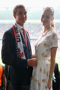 SAO PAULO, BRAZIL - JULY 09: Pierre Casiraghi attends with Beatrice Borromeo the 2014 FIFA World Cup Brazil Semi Final match between the Netherlands and Argentina at Arena de Sao Paulo on July 9, 2014